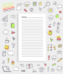 Notes and Collection of Icons Vector Illustration