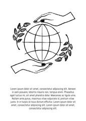 International Peace Day Vector Illustration on Blue