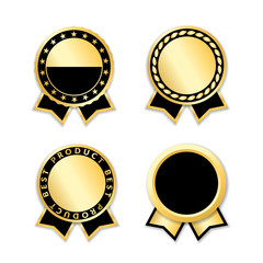 Award ribbon isolated set. Black and gold design for medal, label, badge, certificate. Symbol of best sale, price, quality, guarantee, achievement. Ribbon award decoration Vector illustration