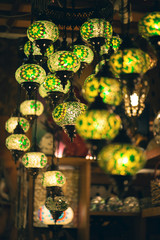 Colorful vintage traditional arabic lamps. Grand Bazaar in Kuala Lumpur