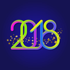 2018 fluid colors numbers with glittering stars. Element for Happy New Year greeting card design.