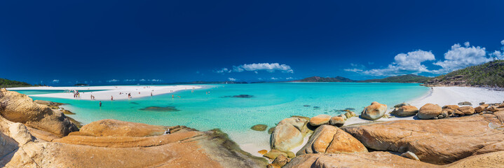 WHITSUNDAYS, AUS - SEPT 22 2017: Panorama of Whitehaven Beach in the Whitsunday Islands, Queensland, Australia
