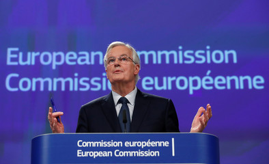 European Union's chief Brexit negotiator Michel Barnier holds a press conference at the European Commission headquarters in Brussels