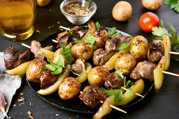 Bbq from chicken liver, potato and bell pepper.