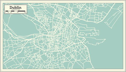 Dublin Ireland Map in Retro Style.
