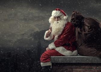 Santa bringing gifts on Christmas Eve