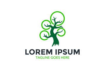 tree and leaf logo. vector illustration. editable