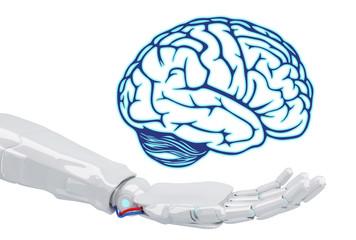 White robot hand holding virtual brain.