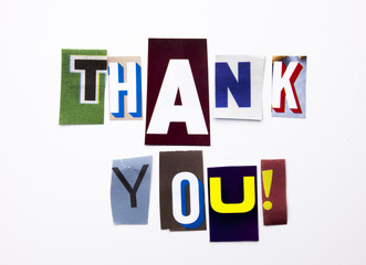 A word writing text showing concept of Thank You, Thanking made of different magazine newspaper letter for Business case on the white background with copy space