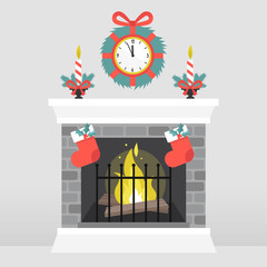 Christmas interior. Decorated fireplace. Candles. Crystal ball. Winter seasonal decor. Wall clock. Flat vector illustration, clip art