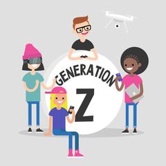 "A group of millennial friends gathering around big ""Generation z"" sign. Gadgets. Modern lifestyle. Flat editable vector illustration, clip art"