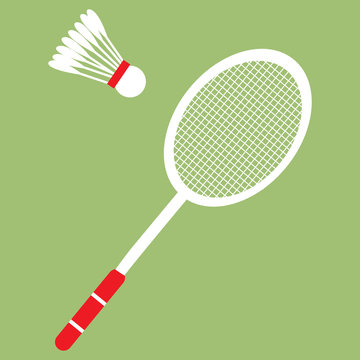 Vector set of badminton racket and shuttle