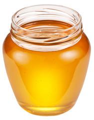 Jar full of fresh honey.