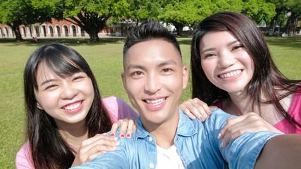 student selfie happily