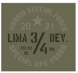 Madrid military badge, realistic looking military typography for t-shirt, poster, print.