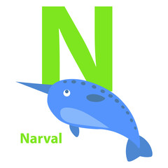 Lime Green Letter N Narval on Kid Education Card