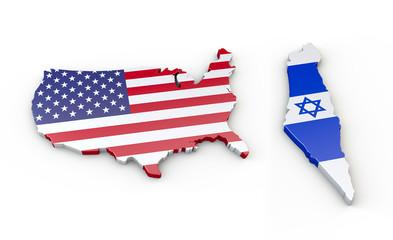 USA und Israel - 3D Landkarten, Grenzen, Umriss oder Kontur