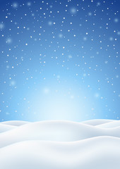 Winter Background with Falling Snow and Snowy Hills
