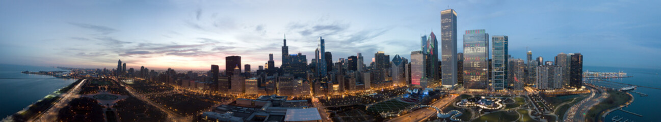 Chicago Downtown Drone View
