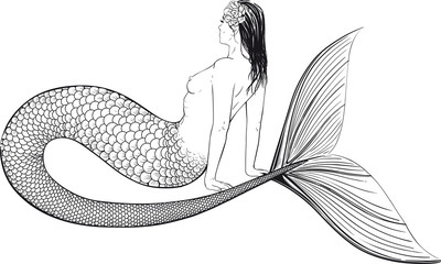 semi-nude Young mermaid with a large fish tail and a hair woven into the hair sits and looks in the horizon