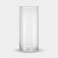 3D realistic glass cup isolated on transparent background. Vector illustration.