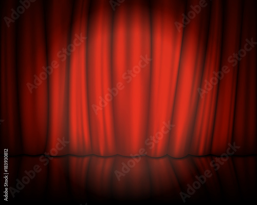 Red Velvet Curtain With Stage Spotlight On Vector Illustration