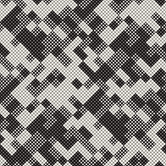 Modern Stylish Halftone Texture. Endless Abstract Background With Random Size Squares. Vector Seamless Squares Mosaic Pattern