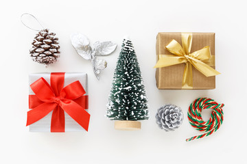 Christmas decoration and gift on white