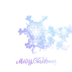 Christmas snowflake with double exposure effect adding falling snow