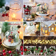Christmas collage with retro style home decorations