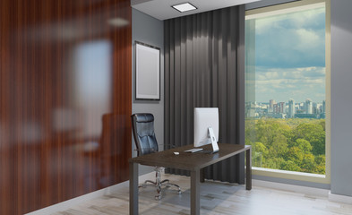 Front view of an office interior with a row of dark wood tables. 3D rendering.. Empty picture