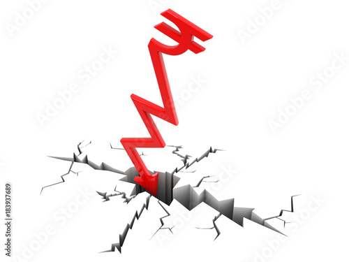 Red Indian Rupee Symbol Down To Ground Falling Red Arrow With