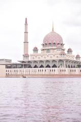Pink mosque near water/lake. Putra, Putrajaya mosque.