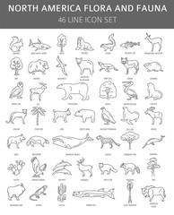 Flat North America flora and fauna  elements. Animals, birds and sea life simple line icon set