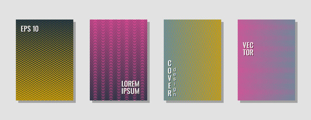Geometric zig zag lines gradient texture curves background for music cover. Wavy stripes and zig zag vector halftone lines texture posters set in pink, blue, gold colors.