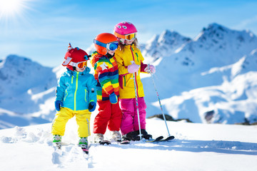 Poster Winter sports Ski and snow winter fun for kids. Children skiing.