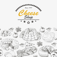 Horizantal background with cheese products