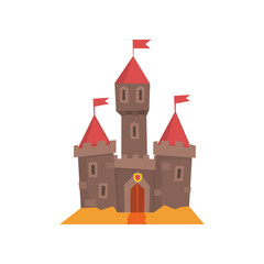 Medieval castle with flanking towers, wooden gate and flags on conical roof. Fairy tale building. Historical architecture. Flat vector design for book cover, postcard or mobile app