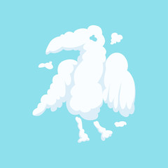 Cloud in bizarre shape of eagle isolated on blue. Silhouette of predatory bird. Funny cartoon animal. Flat vector design for kids story book, print or postcard