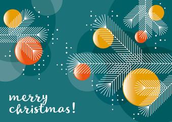 Weihnachtsbaum mit Kugeln, Grafik, Weihnachtsgruß, geometrische Formen, englisch