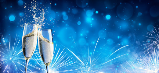 Toast With Champagne And Fireworks In Shiny Night