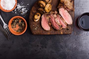 Roast beef steak with mushrooms