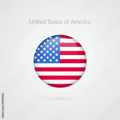 United States Of America Flag Vector Sign Isolated American Circle