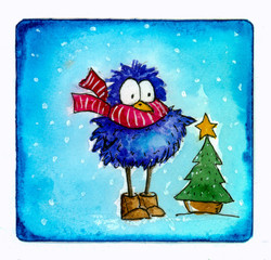 Watercolor picture of funny new year bird in red striped scarf with christmas tree on blue background