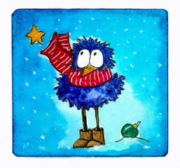 Watercolor picture of funny new year bird in red striped scarf with New Year's toys on blue background