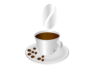 A cup of coffee and coffee beans on a saucer. Vector illustration on a white background.