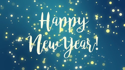 Search photos by winterbee 020 teal blue happy new year greeting card video animation with handwritten text and falling sparkly particles m4hsunfo