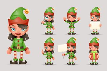 Girl Cute Elf Christmas Santa Teen Icons New Year Holiday 3d Cartoon Characters Realistic Icons Set Design Vector Illustration