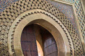 Detail of Bab Mansour Gate at El Hedime square, decorated with mosaic ceramic tiles, in Meknes, Morocco, Africa