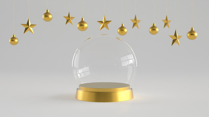 Empty snow glass dome with golden tray on white background with hanging white balls and stars ornaments. For new year or Christmas theme. 3D rendering.